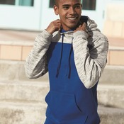 8676 Melange Fleece Colorblocked Hooded Pullover