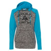 8618 Women's  Colorblock Cosmic Fleece Hooded Pullover Sweatshirt Thumbnail